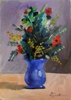 Quadro di Luigi Pignataro - Papaveri e mimose olio cartone